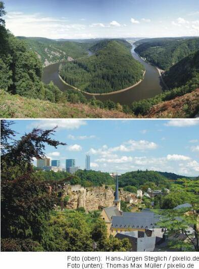 Saarschleife bei Mettlach (Bild oben), Luxemburg (Bild unten)