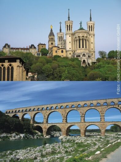 Lyon (Bild oben), Pont-du-Gard (Bild unten)