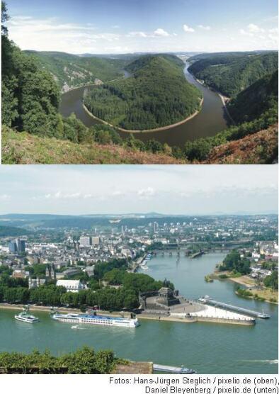 Saarschleife (Bild oben), Deutsches Eck in Koblenz (Bild unten)