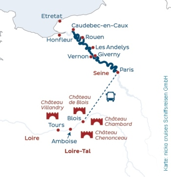 Schiffsreise in die Normandie mit Anschlussprogramm im Loire-Tal