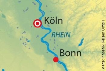 Kreuzen auf dem Rhein mit der MS Anna Katharina ab/an Köln