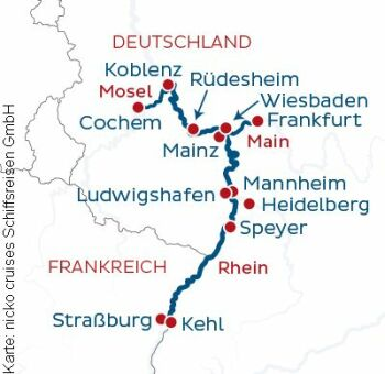 Flusskreuzfahrt auf dem Rhein an/ab Frankfurt